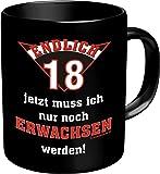 Becher Kaffeetasse endlich 18 volljährig Geschenk zum Geburtstag