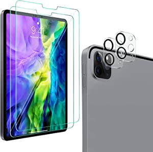 [2+2 Pack] QHOHQ Screen Protector for iPad Pro 12.9 2020 (4th Gen) with Camera Lens Protector,Tempered Glass Film,9H Hardness- HD - Anti-Fingerprint-Anti-Scratch,Compatible with Face ID & Apple Pencil