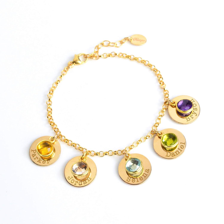 Personalized Initial Bracelet New Mom Bracelet Hand Stamped Name Charm Bracelet Birthstone Mom Bracelet Kids Name Gift Mothers Bracelet