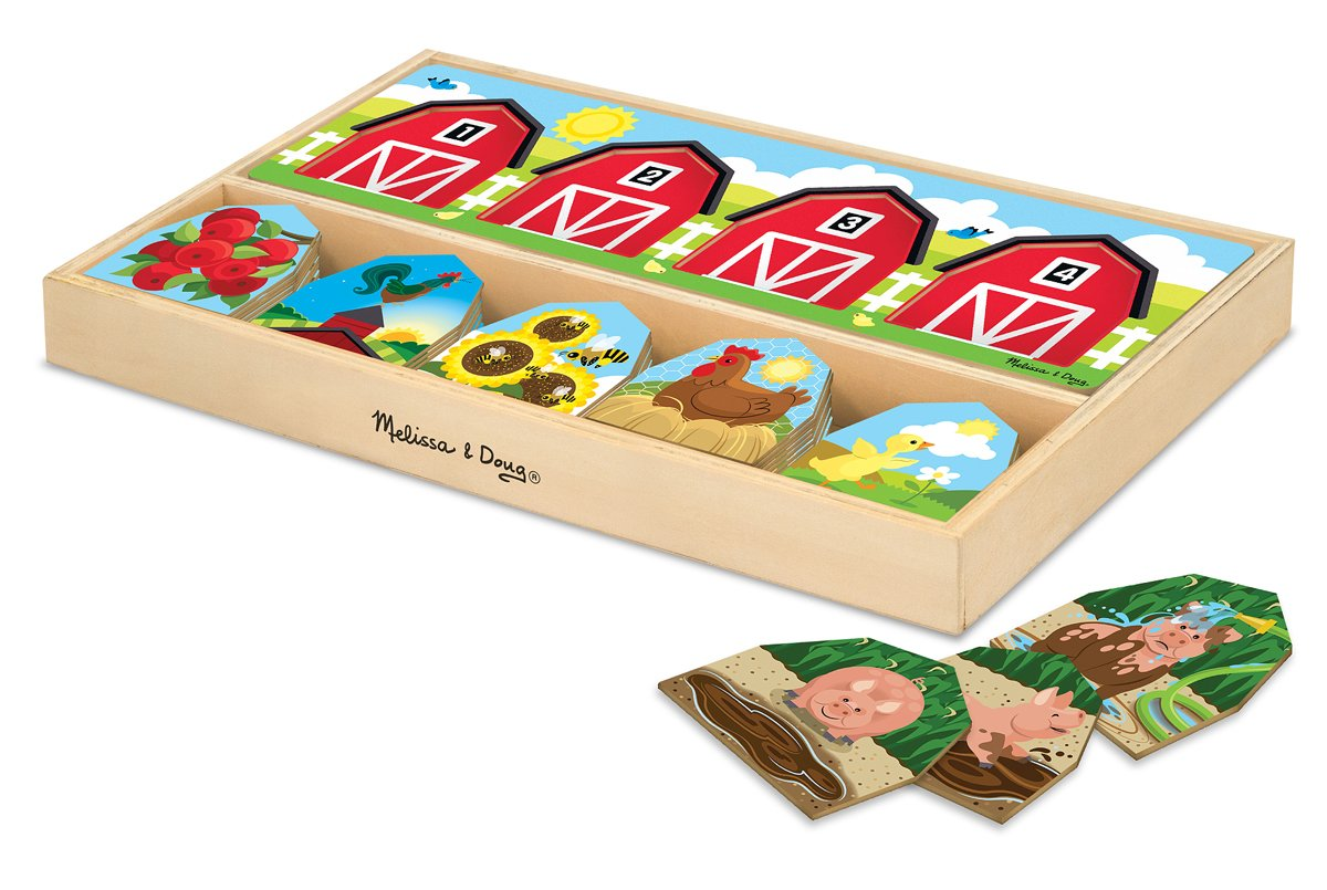 Melissa & Doug Farm Sequencing Storytelling Puzzle Set With Wooden Storage Tray (42 pcs)