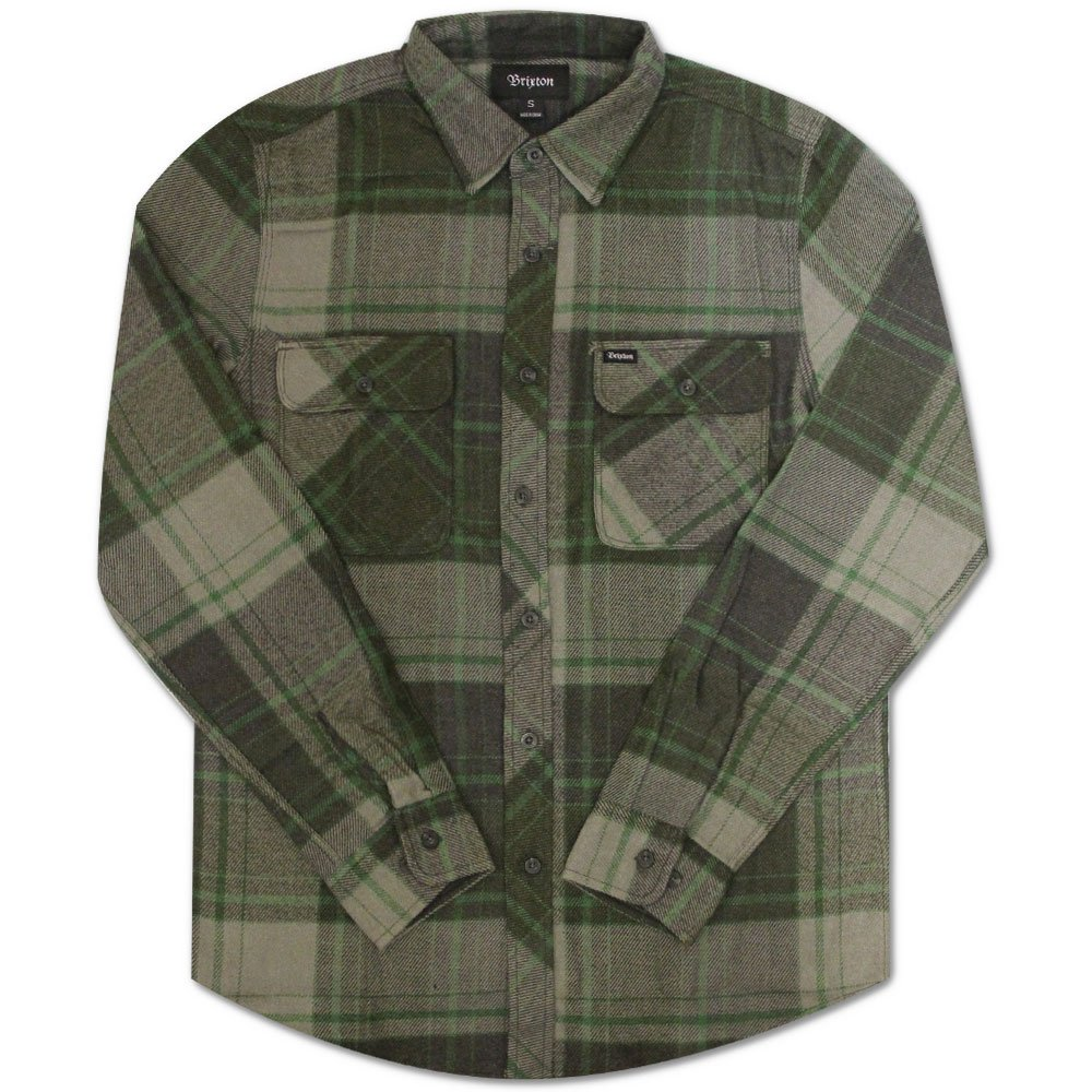 Brixton Bowery Long Sleeve Flannel Shirt Forest Grün