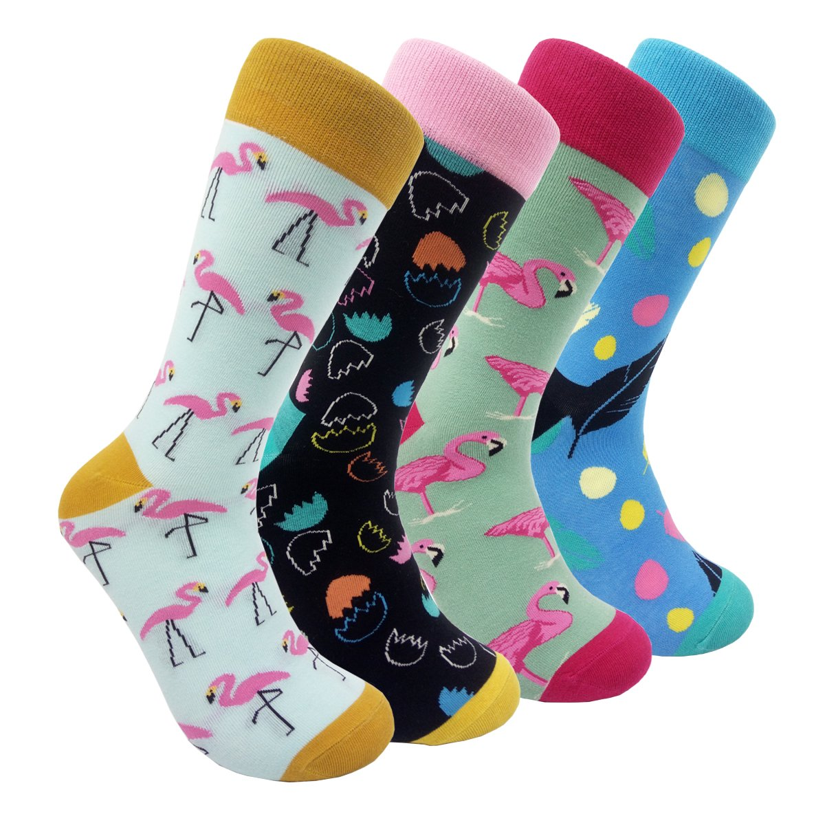 Funny Mens Dress Socks Flamingo - HSELL Colorful Novelty Animal Patterned Fun Crew Socks (Flamingo - 4 Pairs)