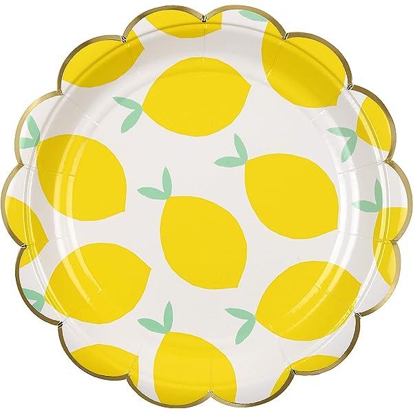 Pack of 8 Meri Meri Lemon Plate Embossed Front with Gold Foil Detail