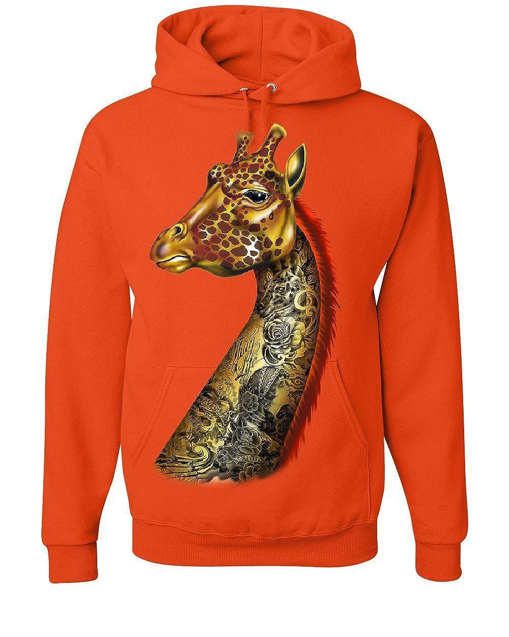 Tee Hunt Tattoed Giraffe Hoodie Giraffe with Tattoes