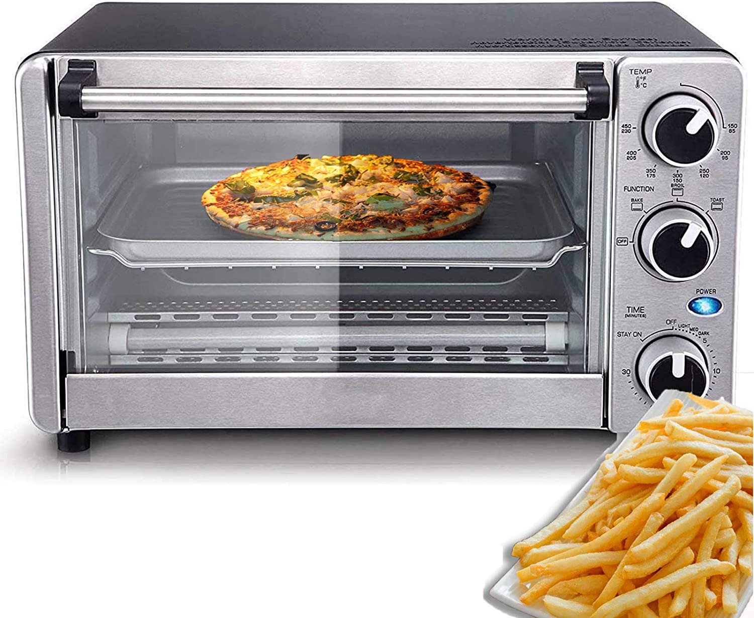4-Slice Toaster Oven, Multi-function Convection Oven, Stainless Steel Finish (1100W), Sold by IVY