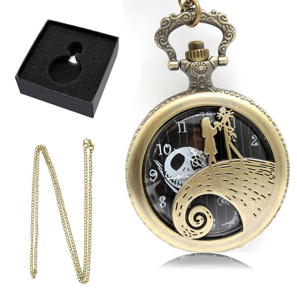 Umiwe Vintage Pocket Watch Christmas Fright Night Theme Pocket Watch Dream Girl with Chain and Gift Box for Men Women