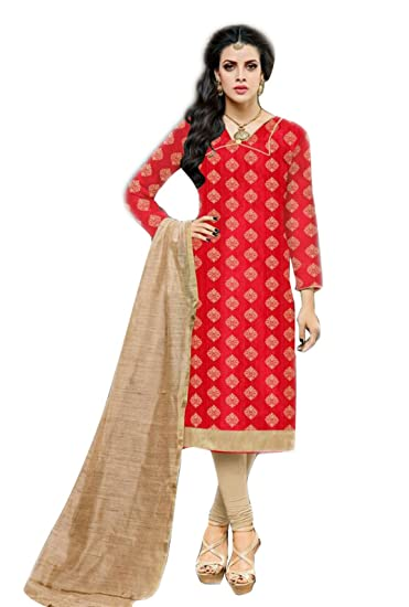 d263129e9a Manmandir Women's Kora Silk Salwar Suit Salwar Suit (Red, Free Size):  Amazon.in: Clothing & Accessories