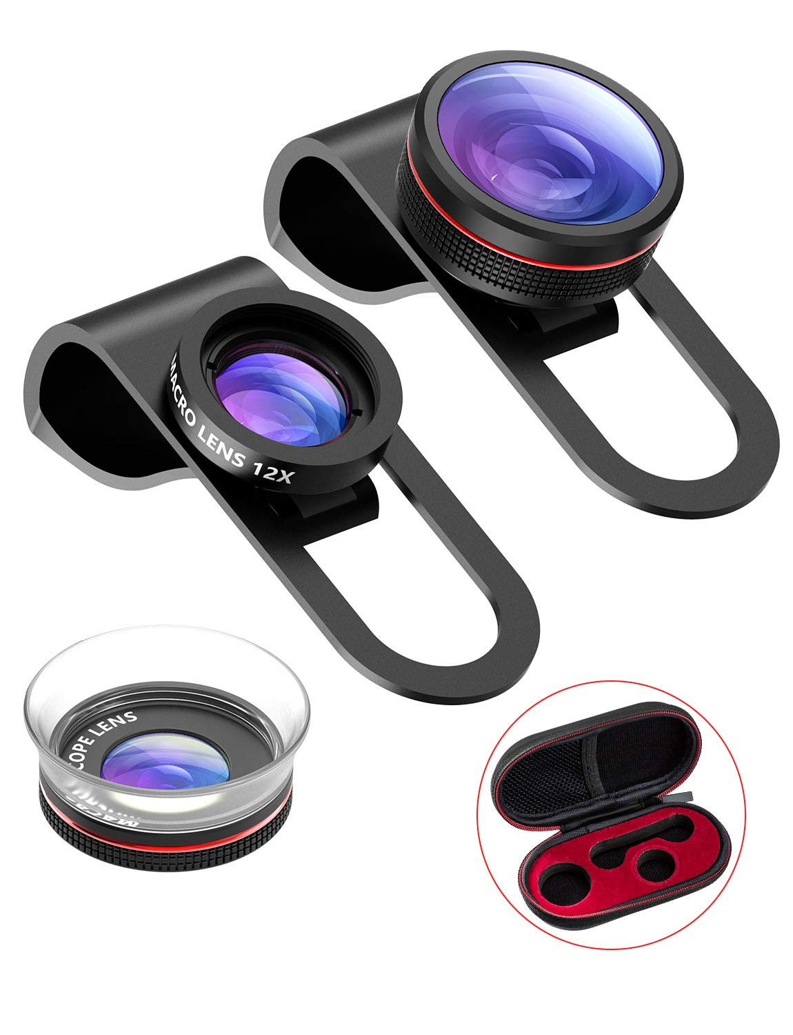 Smartphone Lens,VicTsing 3 in 1 Clip- On lense Kits 180° Fisheye Lens + 24X Macro + 12X Macro Lens,Professional Phone Camera Lenses for iPhone X /iphone8/8 plugs /7 6/6s Samsung Huawei and Other