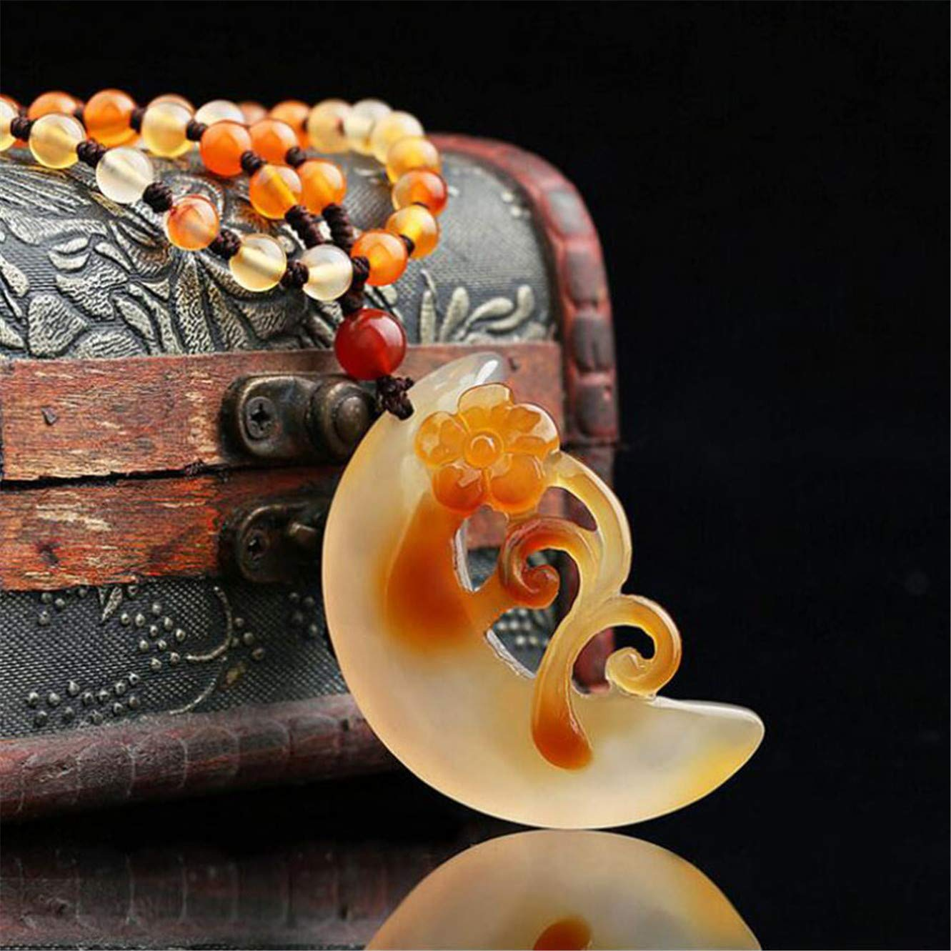 ShuangZe Natural Jade medullary Pendant Carved Moon Flowers Necklace Women Jewelry