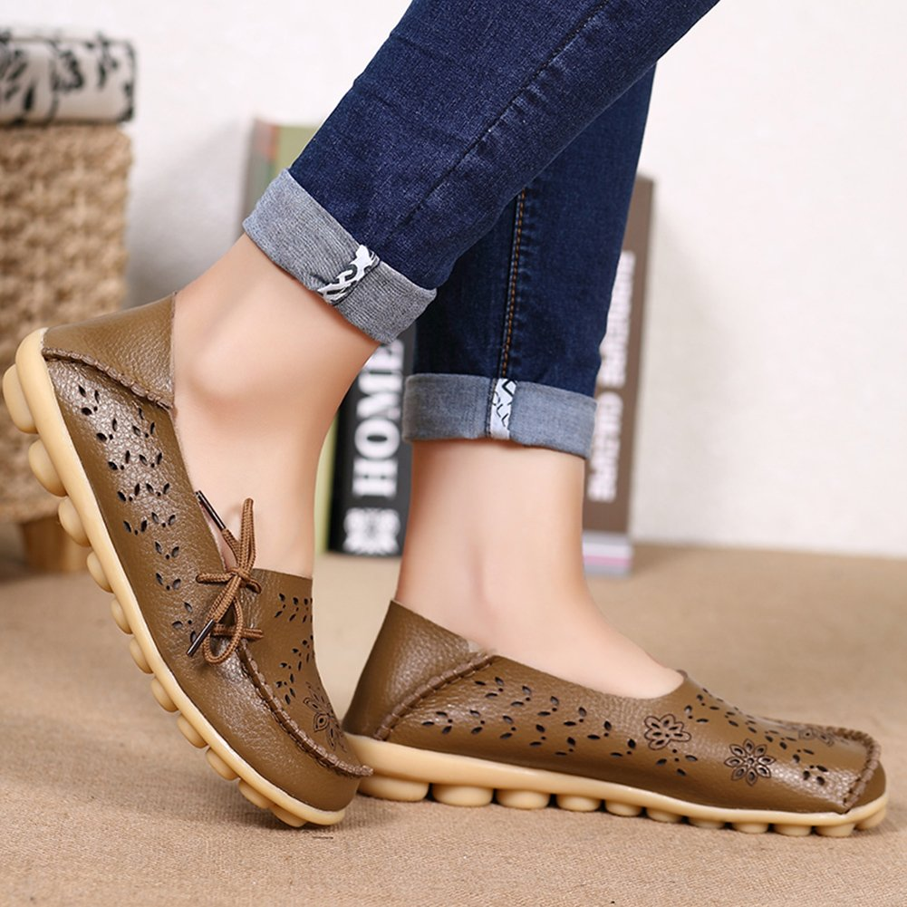 ae48427d7083 Fantiny Womens Genuine Leather Loafers Casual Moccasin Driving Shoes Indoor  Flat Slip-On Slippers CIOR