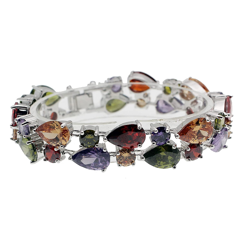 JINTOP Jewellery Set,Amethyst Garnet Morganite Peridot Multi Gemstones S925 Gifts For Girls Women LE-165