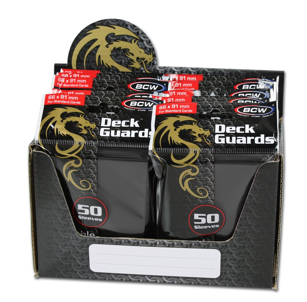 BCW 500 Count Deck Guard BLACK MATTE Finish for Stardard Size Collectable Cards - Deck Protector Sleeves [Display Bundle - 10 Packs] by Deck Guard