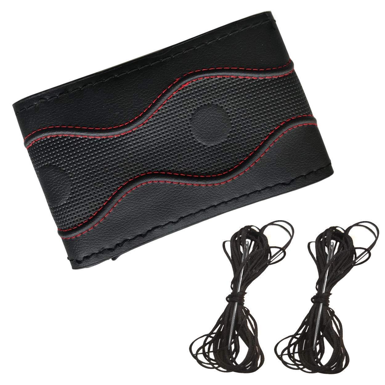 Fundas para volante de coche Cubierta de volante universal del autom/óvil de bricolaje 37-39 cm Antideslizante elegante para trabajo pesado no t/óxico con aguja e hilo