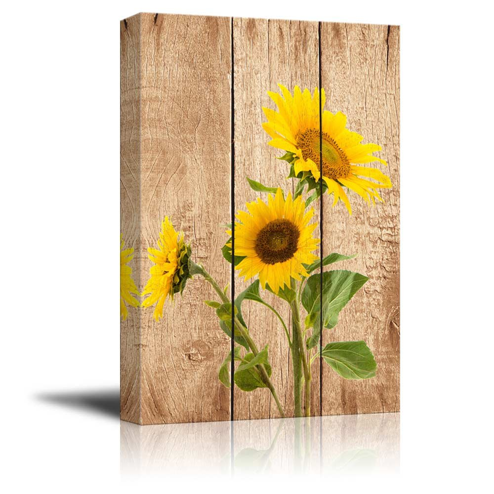 Wonderful Amazon.com: Wall26   Tall Yellow Sunflowers Over Wood Panels   Nature    Canvas Art Home Decor   32x48 Inches: Posters U0026 Prints