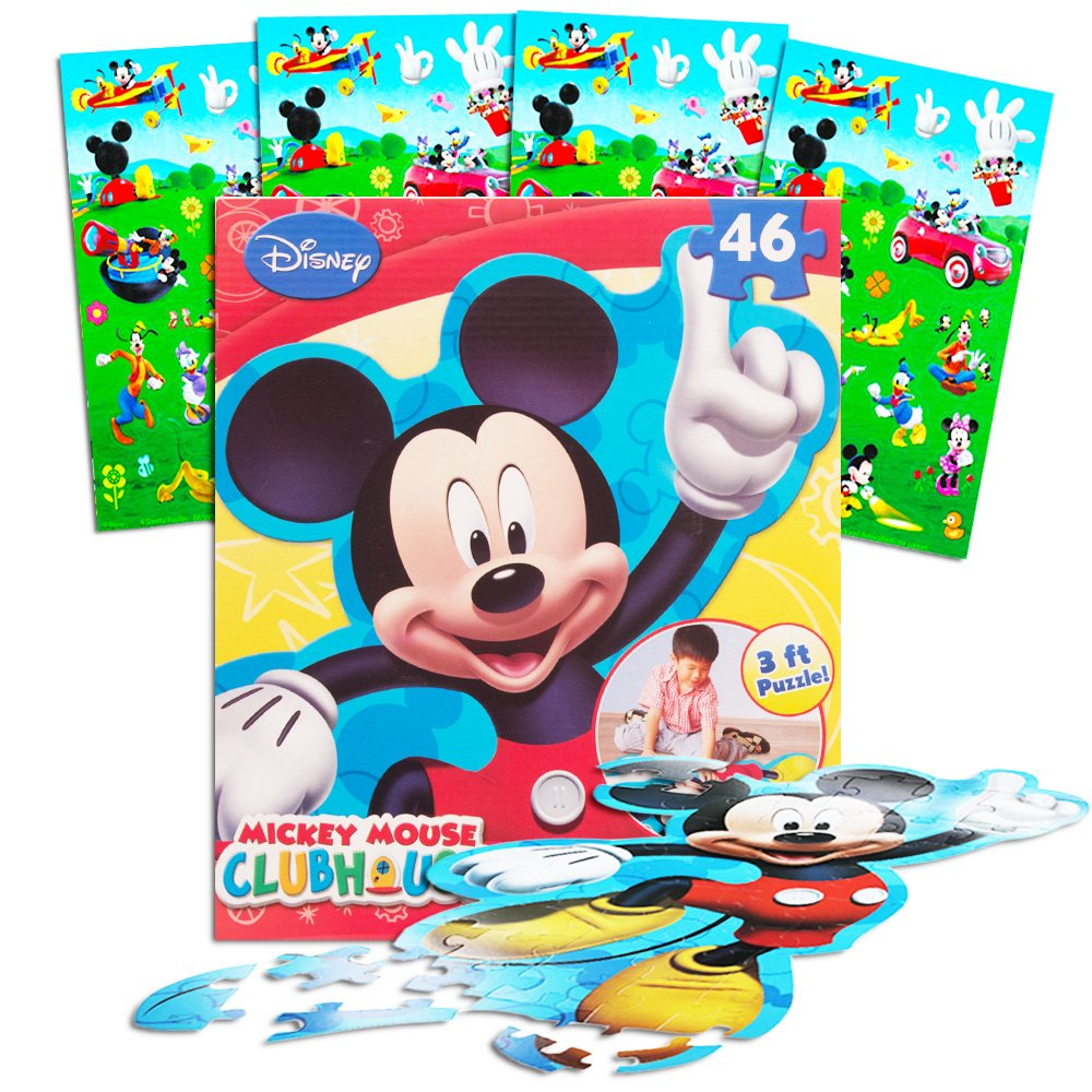 Disney Mickey Mouse Giant Floor Puzzle for Kids (3 Foot Puzzle, 46 Pieces-- Bonus Mickey Mouse Stickers)