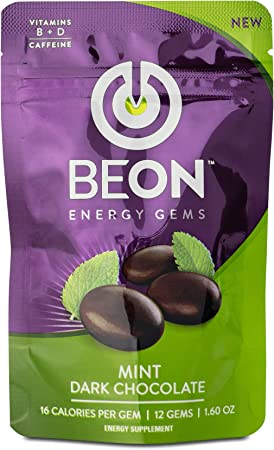 BeON Energy-Boosting Mint Flavored Dark Chocolate. 108 Chocolate Gems with Caffeine, L-Theanine, Vitamins D, B6, and B12, Energy Supplements, Healthy Replacement for Coffee and Energy Drinks.