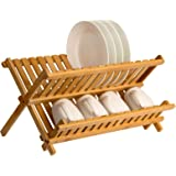 Saganizer wooden dish rack plate rack Collapsible Compact dish drying rack Bamboo dish drainer