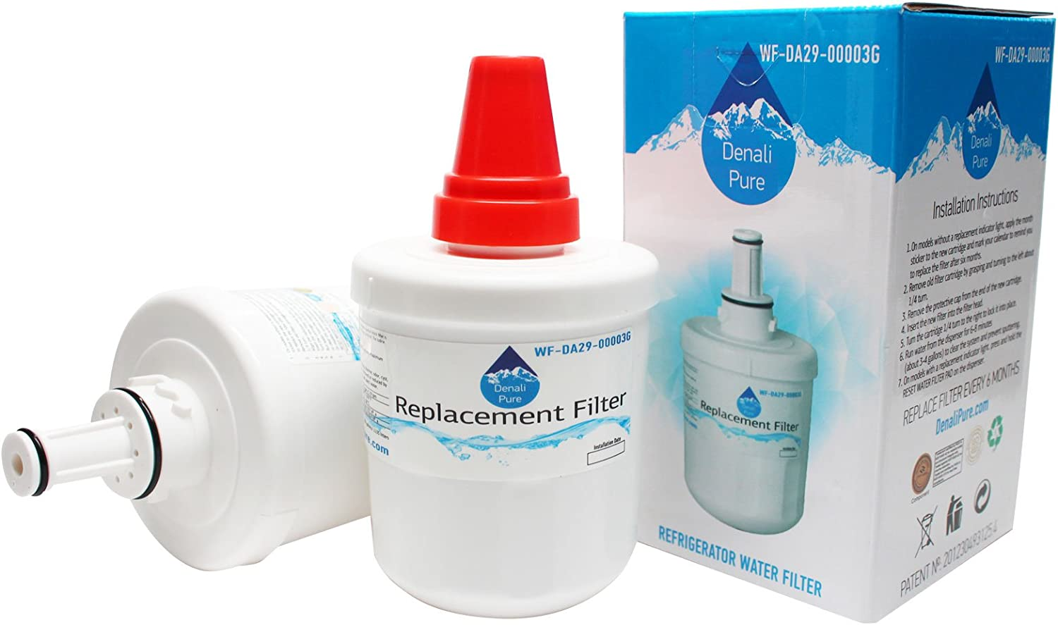 2-Pack Replacement for Samsung RFG237AARS Refrigerator Water Filter - Compatible with Samsung DA29-00003G, Samsung DA29-00003B, Samsung DA29-00003A Fridge Water Filter Cartridge