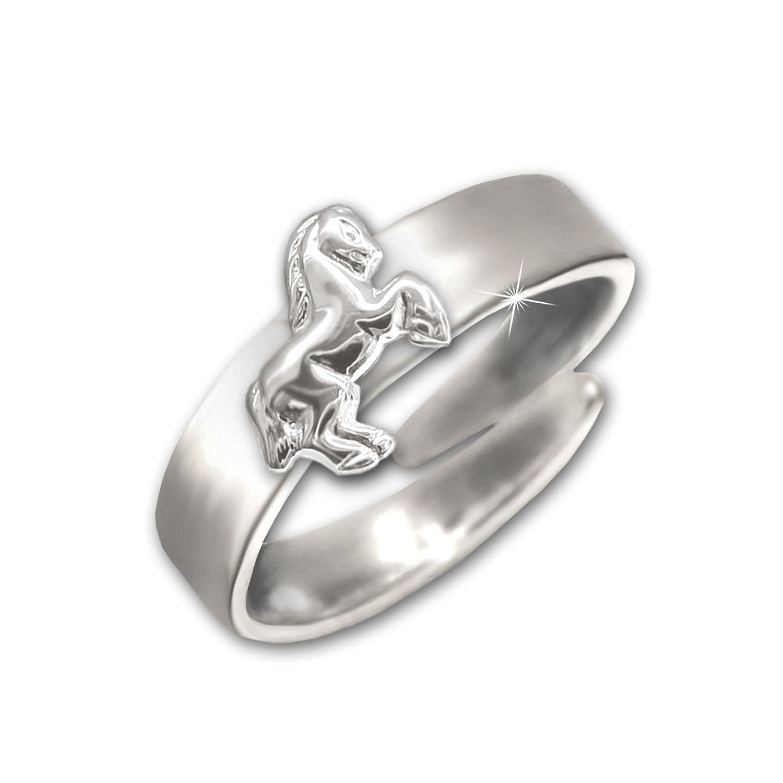 Clever Schmuck argento bambino anello con jumping in argento 925 lucido a forma di cavallo