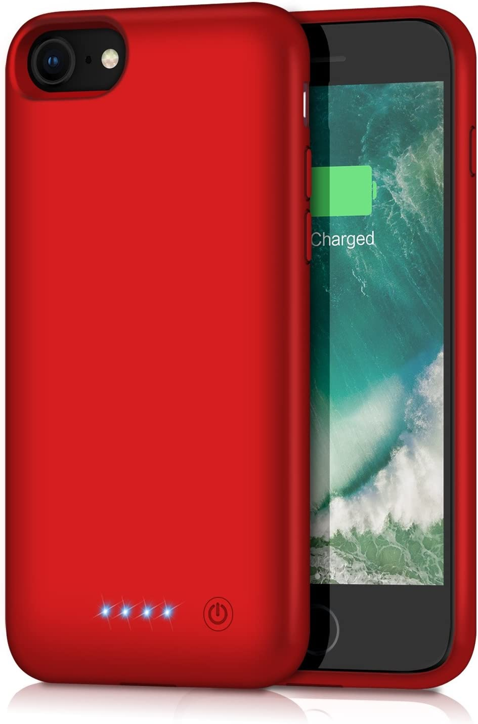 ABOE Battery Case for iPhone 8/7/6s/6/SE(2020), [6000mAh] Upgraded Charging Case Rechargeable Battery Pack for iPhone 8/7 Portable Charger case for iPhone 6S/6 /SE(2020)(4.7 inch)-[Red]