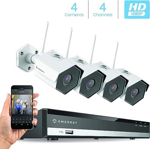 Amcrest 2MP 1080P Security Camera System, 4K 4CH NVR, 4 x 2-Megapixel 3.6mm Wide Angle Lens Weatherproof Metal Bullet WiFi IP Cameras, NV2104-IP2M-852W4 White