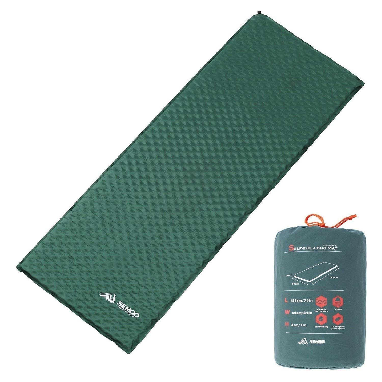 SEMOO Self-Inflating Camping Sleeping Pads, Lightweight Water Repellent Coating Mat for Hiking by SEMOO