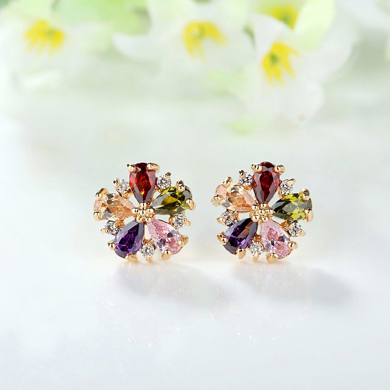Earrings for Women Teens Girls Crystal CZ Birthstone Stud Earrings