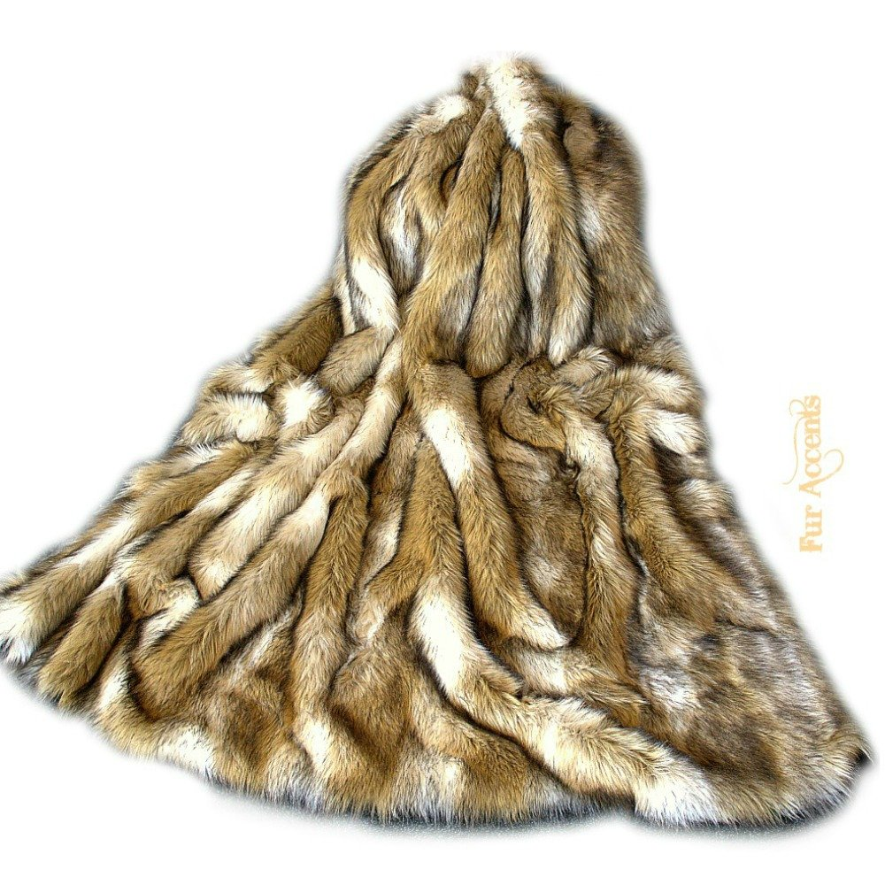 Luxury Fur Brown Fox Throw Blanket Plush Faux Fur Face with Minky Cuddle Fur Lining Any Size (5'x6')