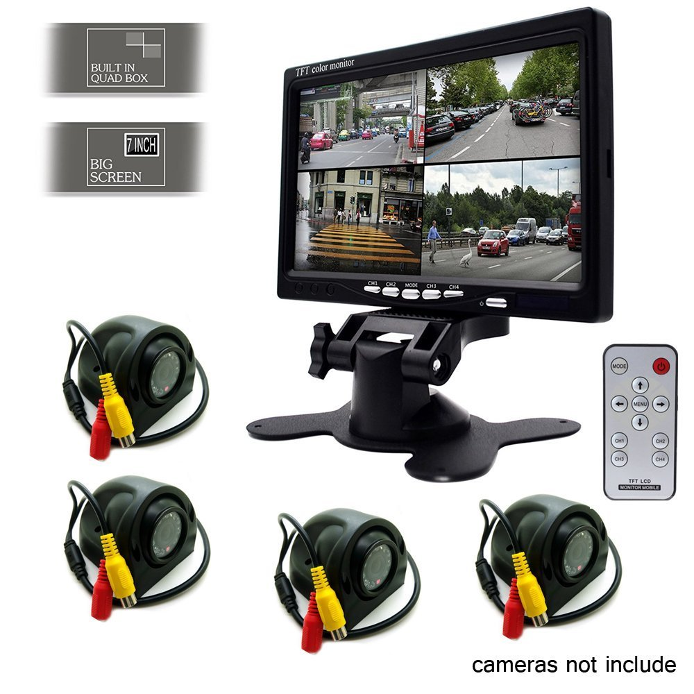 Camecho 7 inch Split Quad Monitor 4 Channel Video Input Full HD Color Image for Car Backup Camera System /& Home Security Surveillance