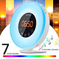 Wake Up Light EatekPower Alarm Clocks with Sunrise and Timer Sunset Simulation FM Radio Alarm clock 7 Colours Snooze Function Adjustable Brightness and Eye Protection 12/24H Mode Wake Up with 6 Natural Sounds or FM Radio Touch Control Panel