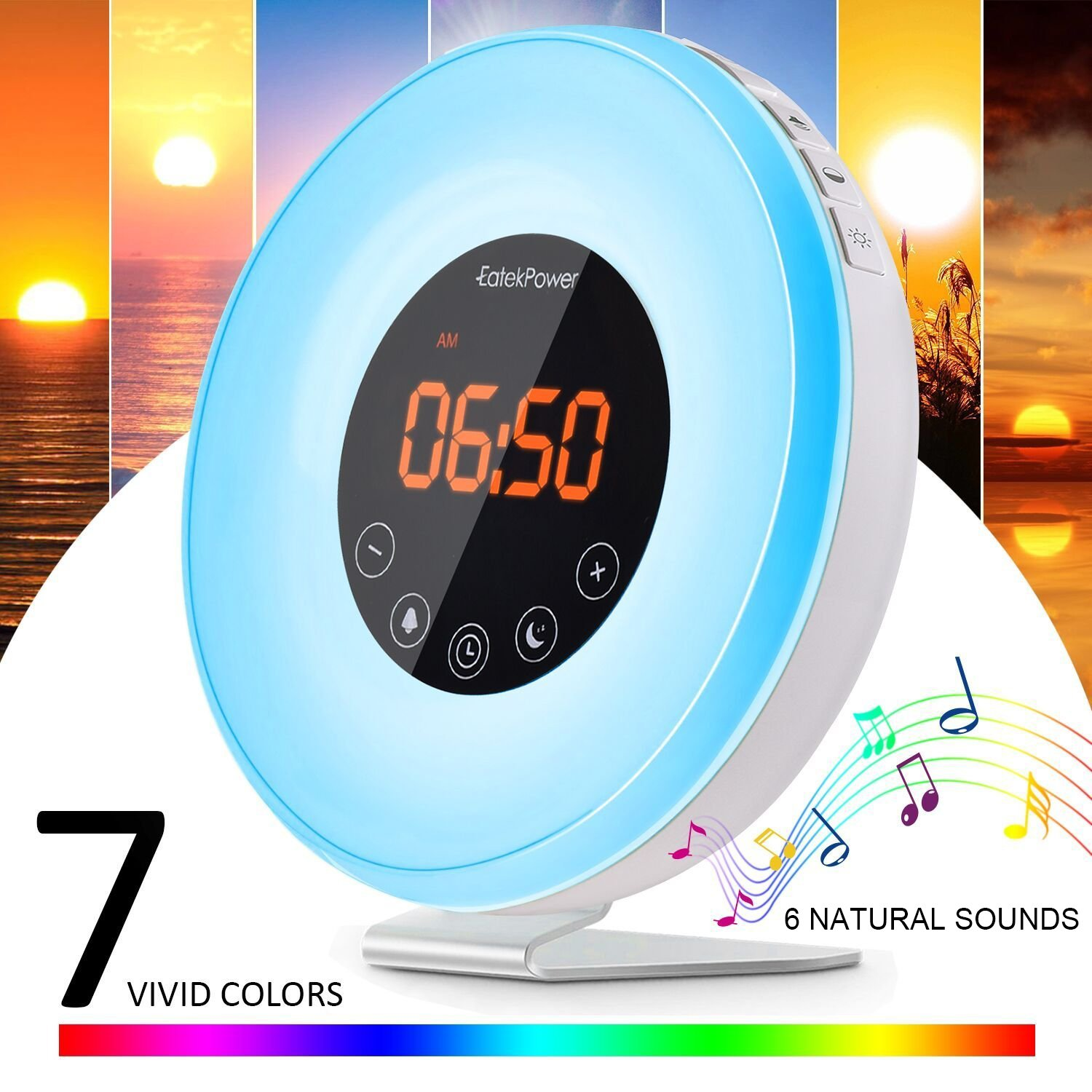 Wake Up Light EatekPower Alarm Clocks with Sunrise and Timer Sunset Simulation FM Radio Alarm clock 7 Colours Snooze Function Adjustable Brightness and Eye Protection 12/24H Mode Wake Up with 6 Natural Sounds or FM Radio Touch Control Panel product image