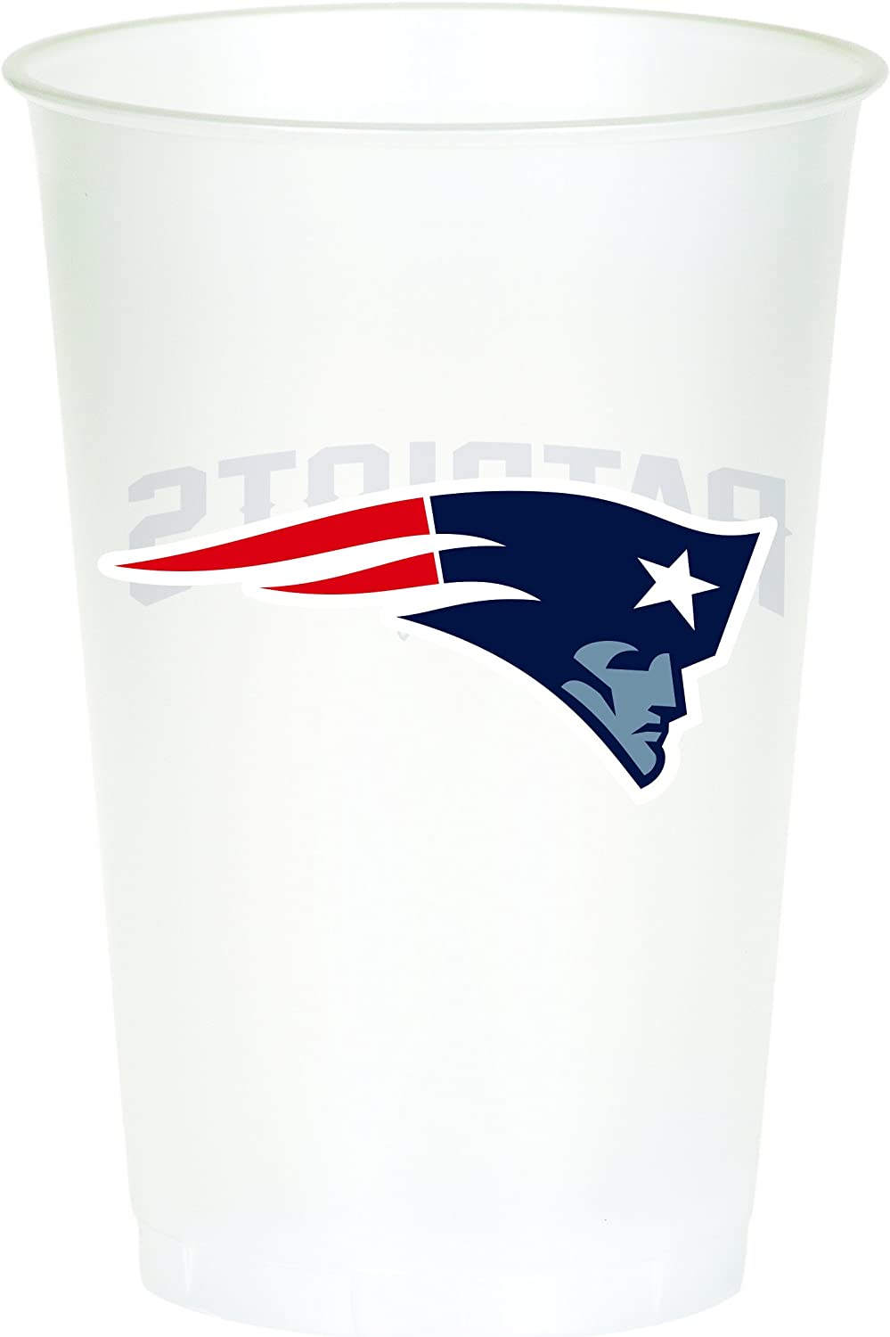 Creative Converting Officially Licensed NFL Printed Plastic Cups, 8-Count, 20-Ounce, New England Patriots -