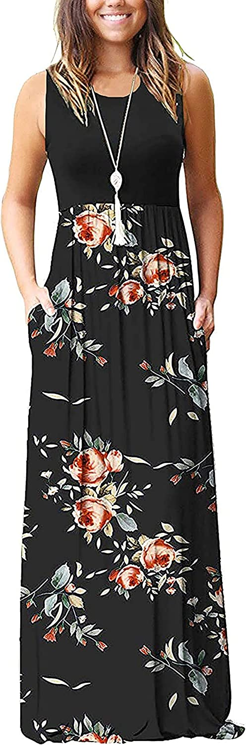 AUSELILY Women's Summer Sleeveless Loose Plain Maxi Dress Casual Long Dress with Pockets at  Women's Clothing store