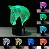 3D Lamp Illusion Animal Horse LED Desk Table Night Light, 7 Color Touch Lamp for Kiddie Kids Children Family Holiday Gift Home Office Childrenroom Theme Decoration by Ticent