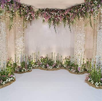 7/×5ft Photo Booth Background Green Plants Red Background Banner Background Wall Decoration Birthday Backdrops for Party Wedding Party Background Photo Backdrop for Wedding Reception Background S