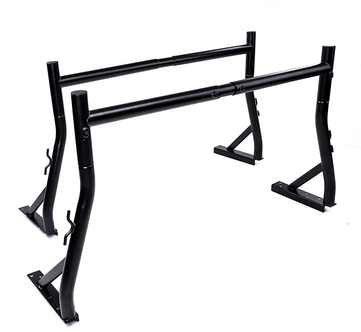 AA-Racks Model X35 800Ibs Capacity Extendable Steel Pick-Up Truck Ladder Rack Two-bar Set - Matte Black