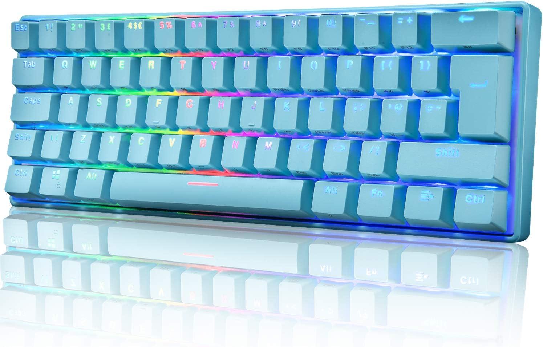 UK61 60% Teclado mecánico para juegos Tipo C Cableado 61 teclas Retroiluminación LED Teclado impermeable USB Retroiluminación RGB Teclas anti-fantasma para computadora / PC / Laptop / MAC