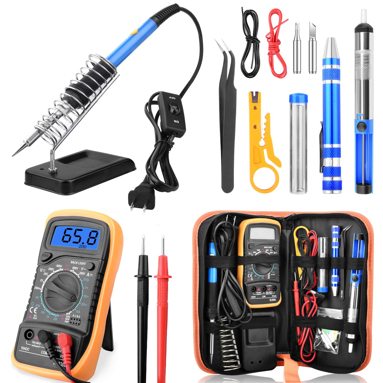 ETEPON Soldering Iron Kit 60W Adjustable Temperature Digital Multimeter, Soldering Stand, Desoldering Pump, 2 Electronic Wire, Stripper Cutter, 2pcs Soldering Tips, Tweezers, Screwdrivers ET002