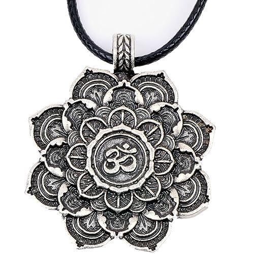 Paw House Om Lotus Mandala Medallion Pendant Necklace Tibetan Buddhist Meditation Yoga Inspired Jewelry