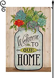 YaoChong Watercolor Bottle of Succulent Garden Flag Verticle Double Sided 12.5 x 18 inch,Welcome to Our Home Spring Summer Gift Yard Farmhouse Decorations