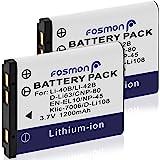 Fosmon [2-Pack] 1200mAh 3.7V High Capacity Li-40B/ Li-42B Replacement Lithium Li-ion Battery Pack Compatible with Fuji NP-45, Nikon EN-EL10, Olympus Li-40B/Li-42B, Pentax D-Li63, Kodak KLIC-7006