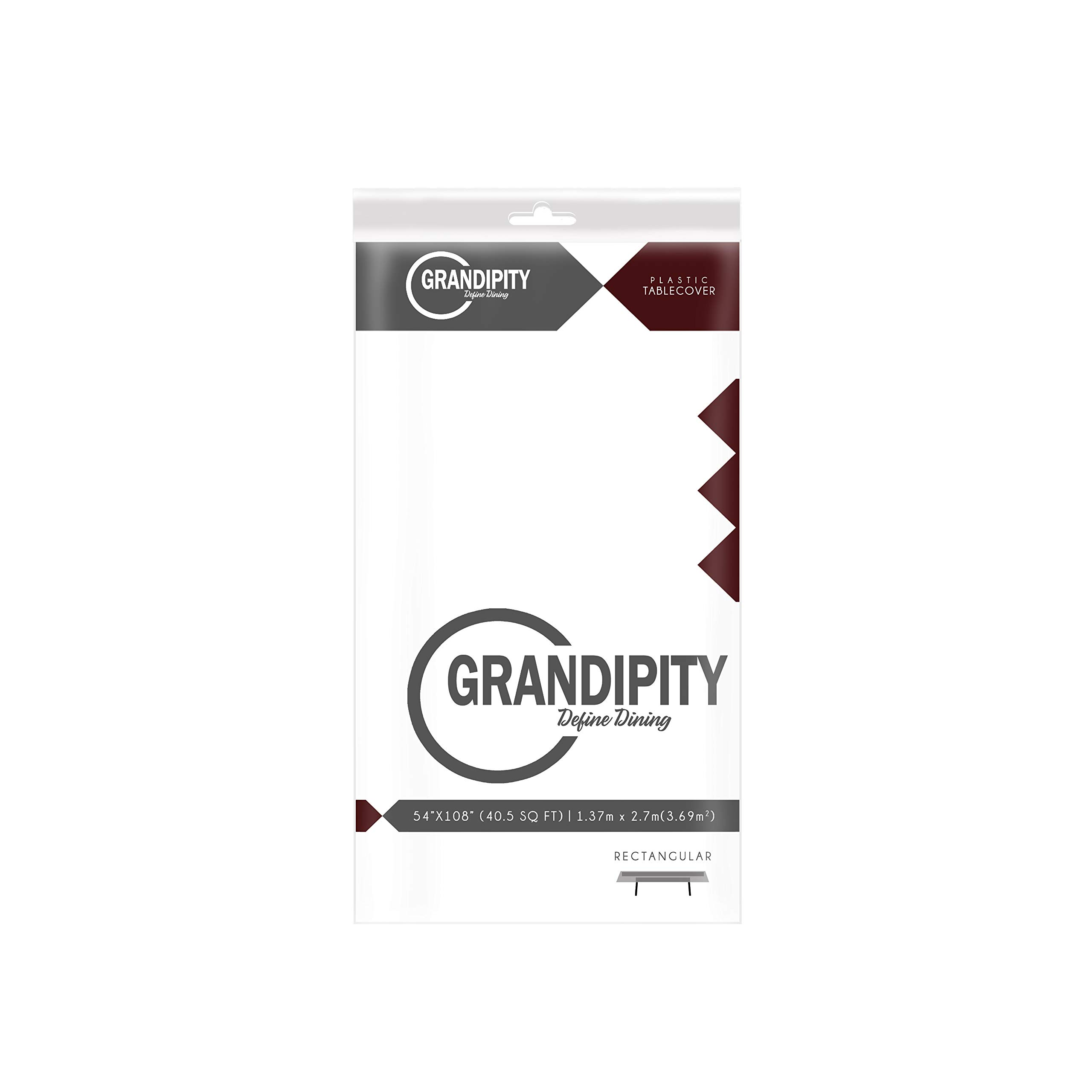 White 6 Pack Premium Disposable Plastic Tablecloth 54 Inch. x 108 Inch. Rectangle Table Cover By Grandipity by Grandipity (Image #2)