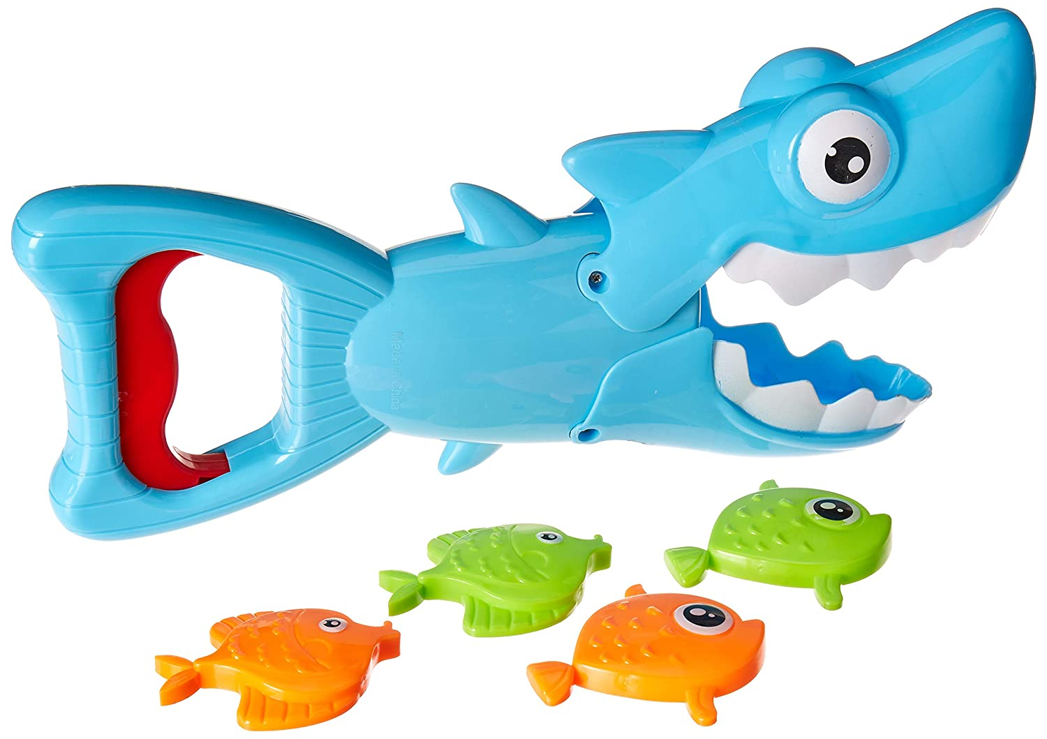Squeeze Red Trigger to Open Mouth of Shark and Grab The Fish Shark Bath Toys for Toddlers Shark Grabber Includes 4 Sinking Fish Baby Bath Toy for Boys and Girls