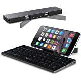 Portable Folding Bluetooth Keyboard EC Technolgy Wireless Mini Keyboard with Stand Ultra Slim Rechargeable for IOS Android Windows, Aluminum Alloy Black