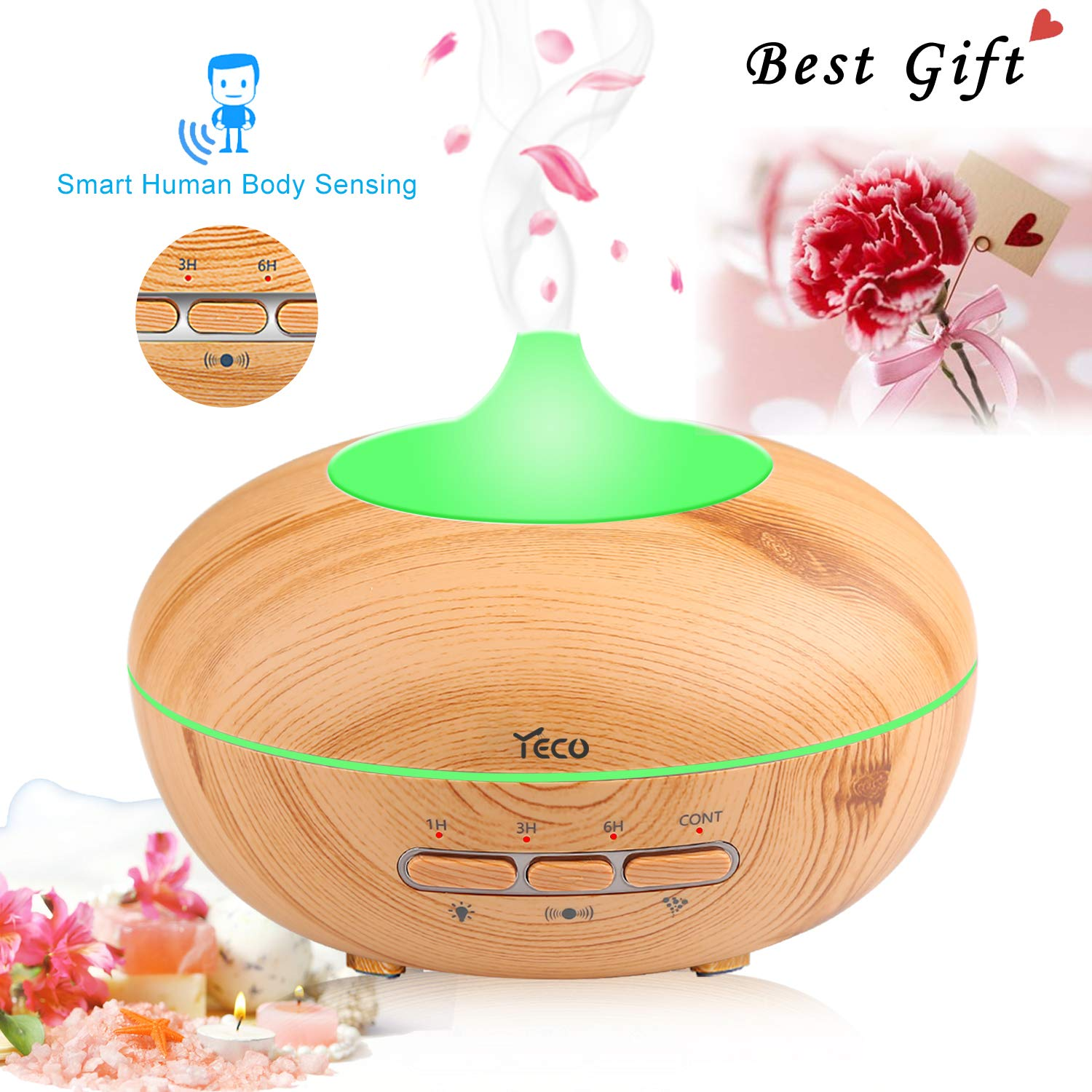 Auto-Sensing Essential Oil Diffuser, YECO 300ml Wood Grain Aromatherapy Diffuser Ultrasonic Cool Mist Humidifier with 4 Timer Settings 7 Color Changing&Waterless Auto Shut-off for Home Office Yoga Spa
