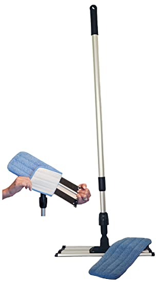commercial grade microfiber floor dust mop with a washable pad works well on all