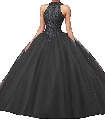5075bd544db PearlBridal Illusion Halter Neck Applique Puffy Princess Quinceanera  Dresses Ball Gown Long Prom Dress Black Size