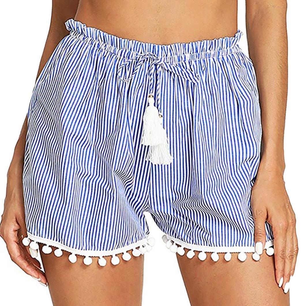 Kurze Hosen Damen Luckycat Shorts Damen Sommer Gestreifte Damen Taillen Quasten Shorts Shorts Hose Sommerhosen Pants Hosen
