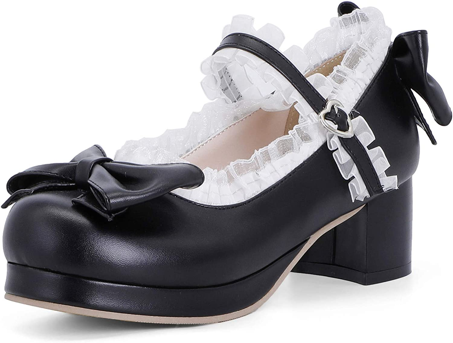 MSKFZEK Women's Cute Lolita All items free shipping Cosplay Max 68% OFF Shoes He Mid Bow Heel Chunky