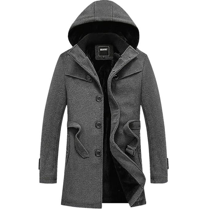 Abrigo con capucha para hombre, lana, revestimiento de pelo sintético, cálido, grueso Gris gris UK M/Asia XXL: Amazon.es: Ropa y accesorios